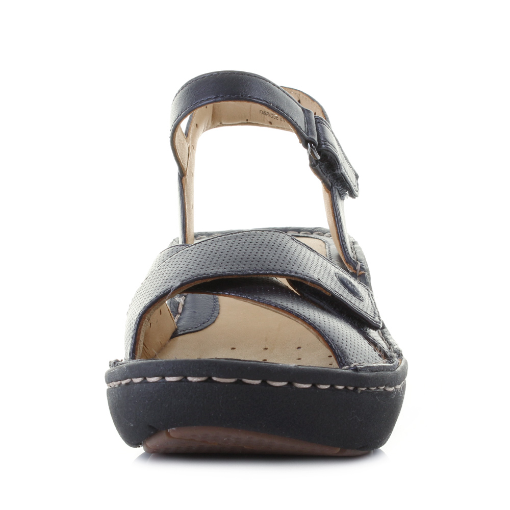 ca6c8c553846 Womens Clarks Un Dima Navy Leather Mid Heeled Sandals D Width Size. The Un  Dima is a wedged heel sandal from the brand that offers quality and  durability ...