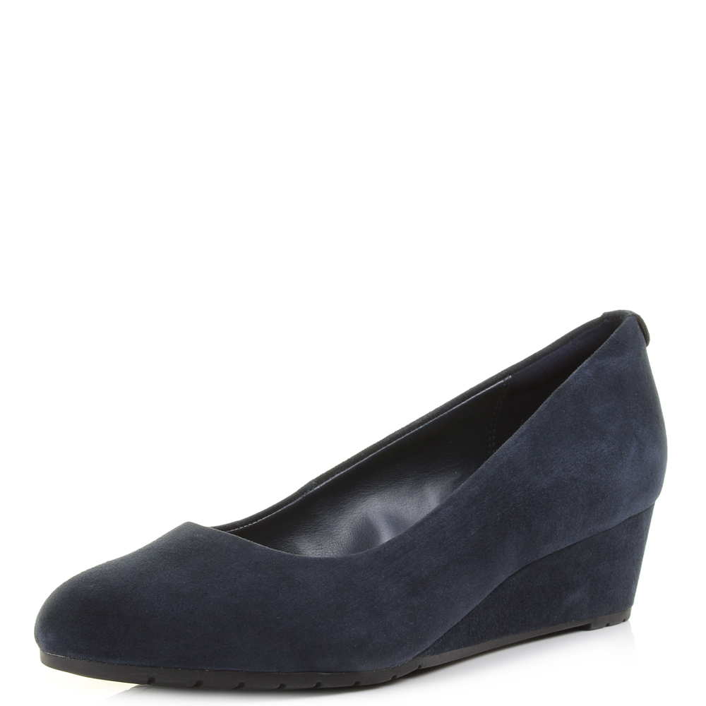 Womens Clarks Vendra Bloom Navy Suede Mid Wedge Heel Court Shoes Size