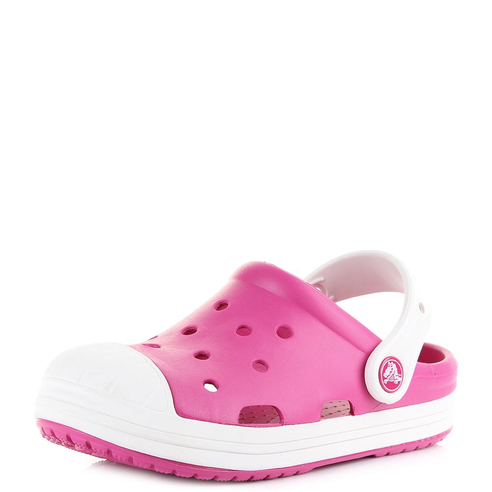 0c2ecc389 Details about Kids Crocs Bump It Candy Pink Oyster Girls Mule Clogs Sandals  Shu Size