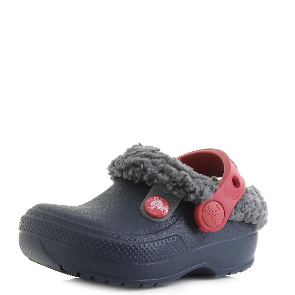 Details about Kids Boys Crocs Classic Blitzen 3 Clog K Navy Slate Grey Red  Fur Clog Shu Size 1b3bc749e032