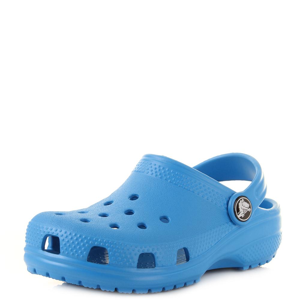 Details about Kids Crocs Classic Ocean Blue Boys Girls Mule Clogs Sandals  Shu Size e5109554e2