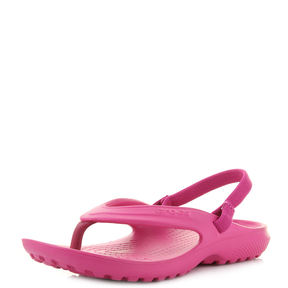 ecb98e8f2f5598 Details about Girls Kids Crocs Classic Flip Candy Pink Iconic Sandals UK  Size