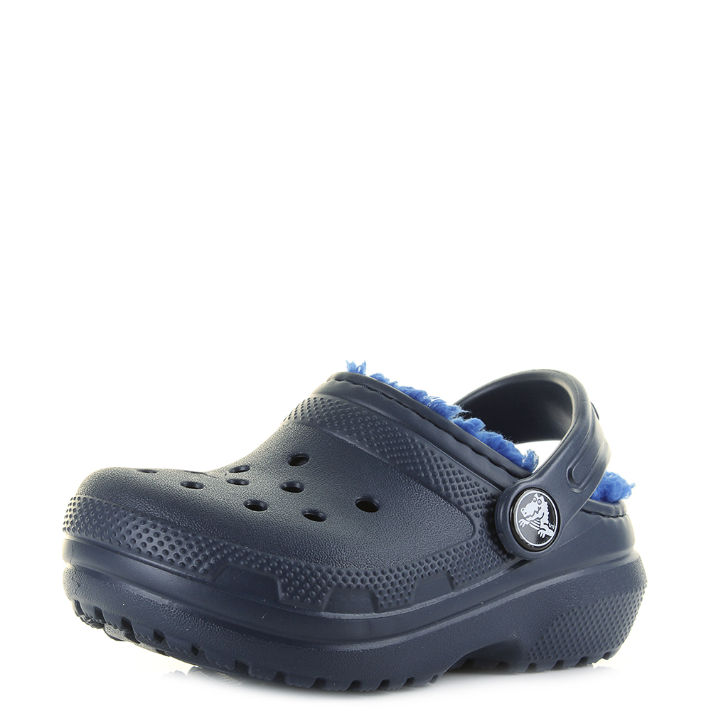 5bd00dc3ae81a Details about Kids Boys Crocs Classic Fleece Lined Clogs Navy Blue Shoes UK  Size