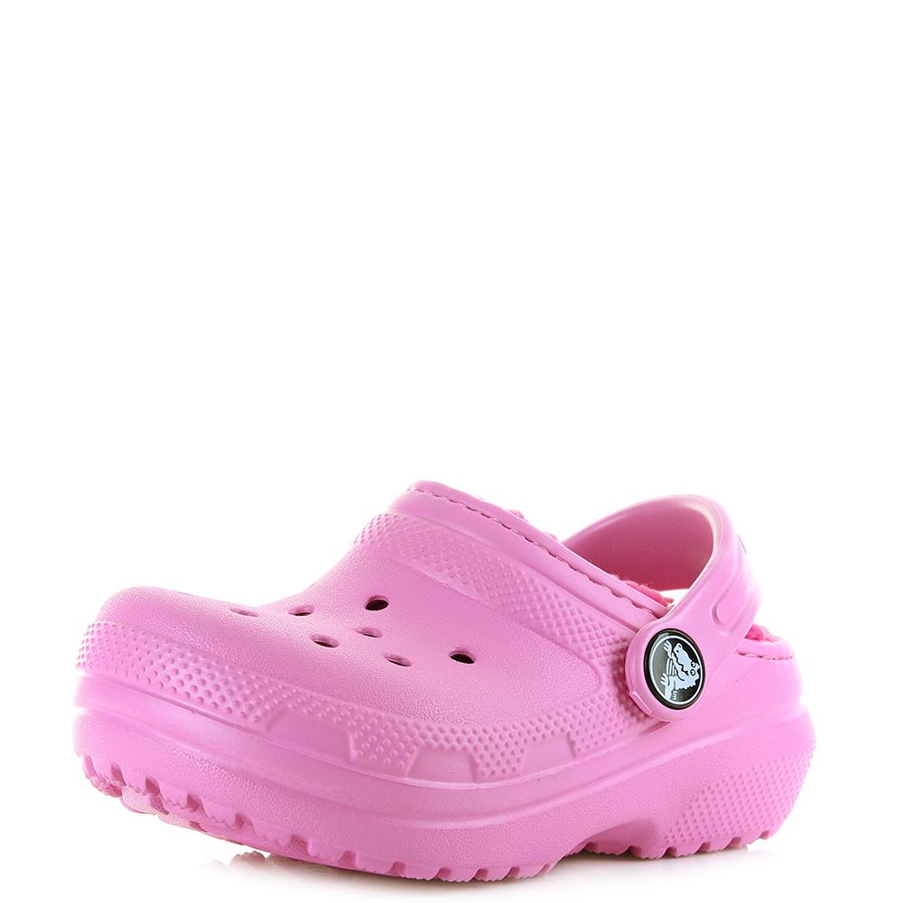 c91205a34220 Kids Girls Crocs Classic Lined Clog Party Pink Candy Faux Fur Crocs Size