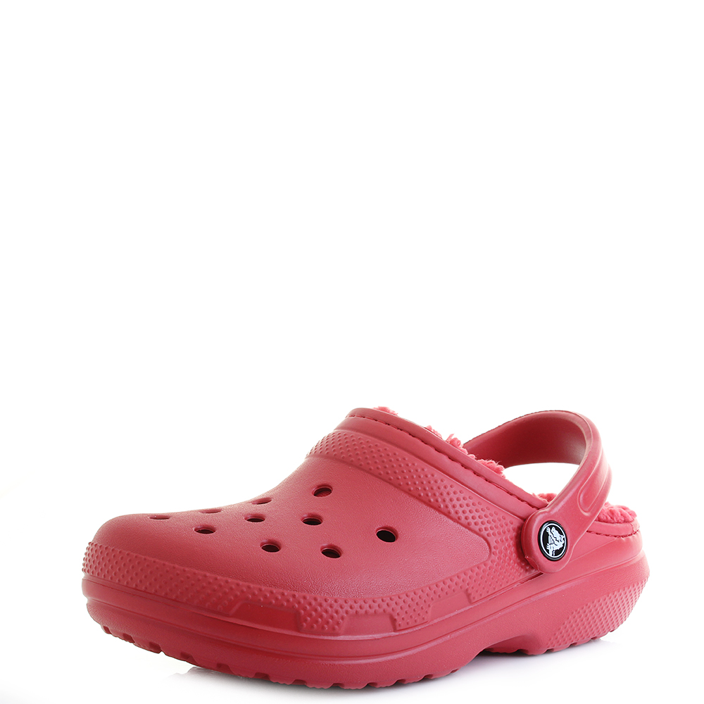 4294a5bbb62 Womens Crocs Classic Lined Pepper Red Fuzzy Lined Warm Clogs Shu Size