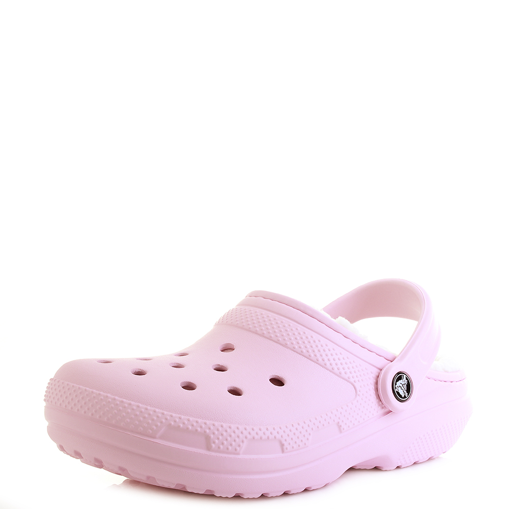 6ca92d451c6cb Details about Womens Crocs Classic Lined Pink Oatmeal Fuzzy Warm Clogs  Sandals Shu Size