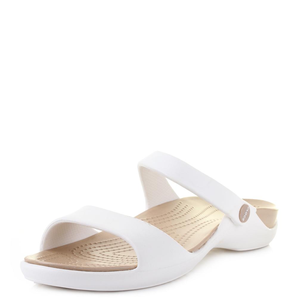 797f805f02a36a Womens Crocs Cleo V Oyster Gold Slip on Comfort Sandals Size