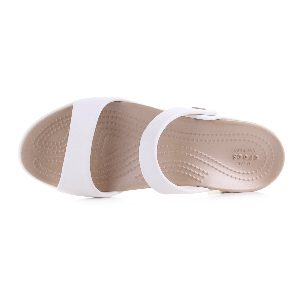 78771c66d8ad Cleo is one of the most popular ladies sandals from Crocs. The Cleo V is  relaunched in this fantastic and stylish oyster and gold two tone colour  upper.