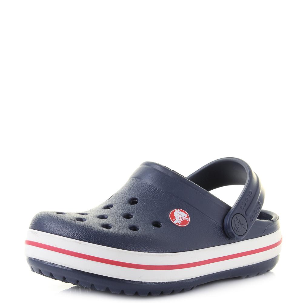 4a9f0d009e34 Boys Kids Crocs Crocband Navy Red Clogs Sandals UK Size