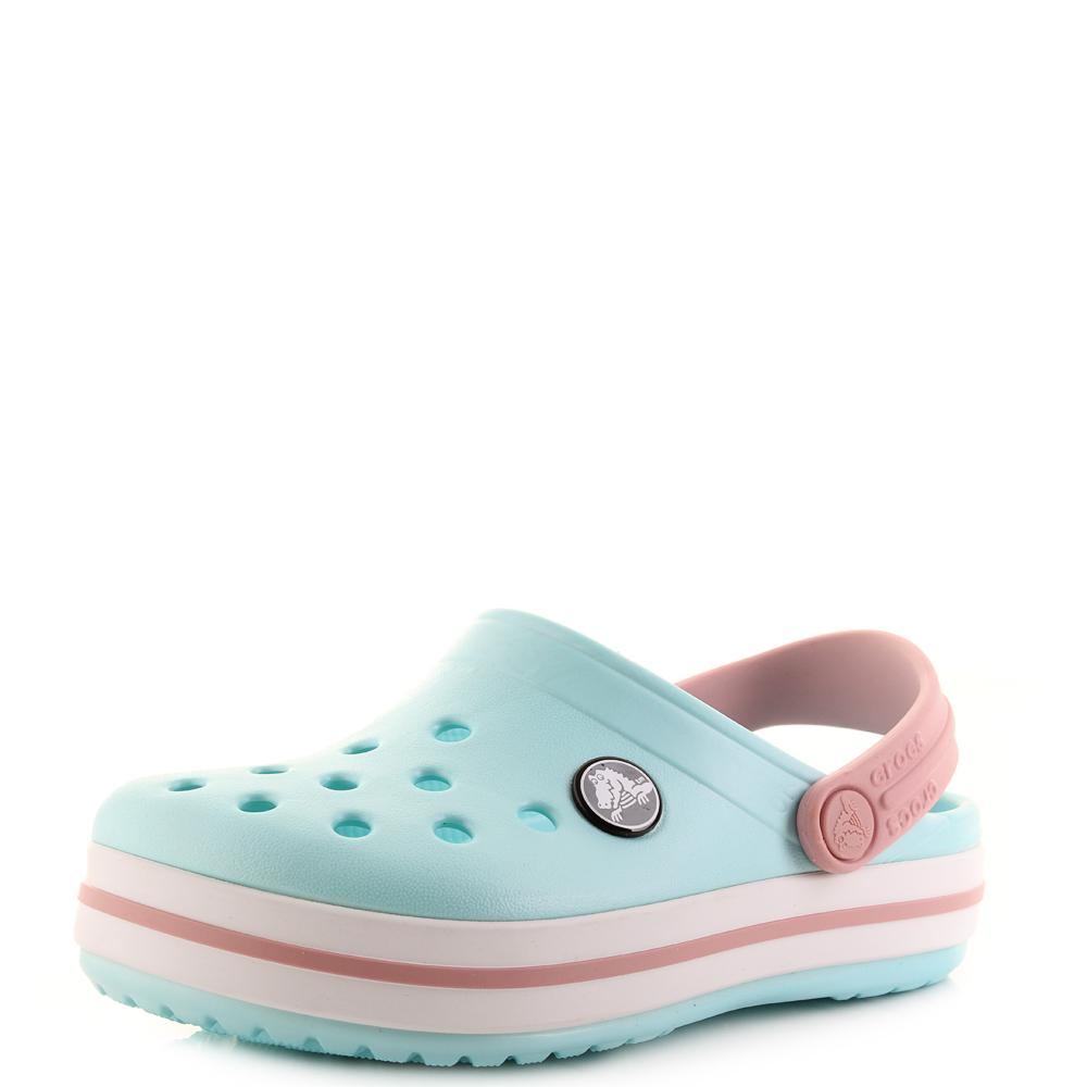 687b38e7f76e Kids Crocs Crocband Clog K Ice Blue White Clogs Sandals Shu Size