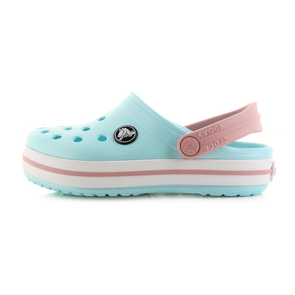 1586e2a5b5b5 Kids Crocs Crocband Clog K Ice Blue White Clogs Sandals UK Size