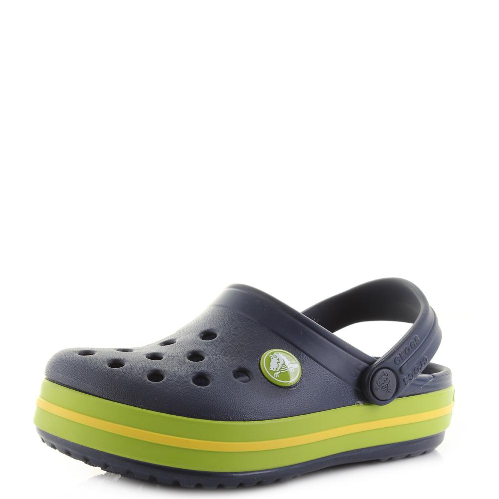 0a25a3795 Kids Crocs Crocband Clog K Navy Volt Green Clogs Sandals Shu Size