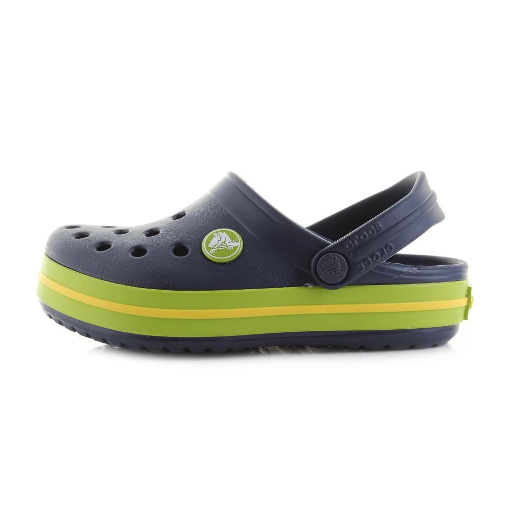 4e9e9e7c9030c Details about Kids Crocs Crocband Clog K Navy Volt Green Clogs Sandals Shu  Size