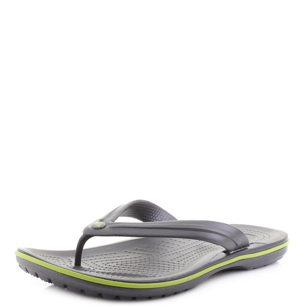 8ed9f0e1f Mens Crocs Crocband Flip Graphite Volt Green Flip Flops Shu Size