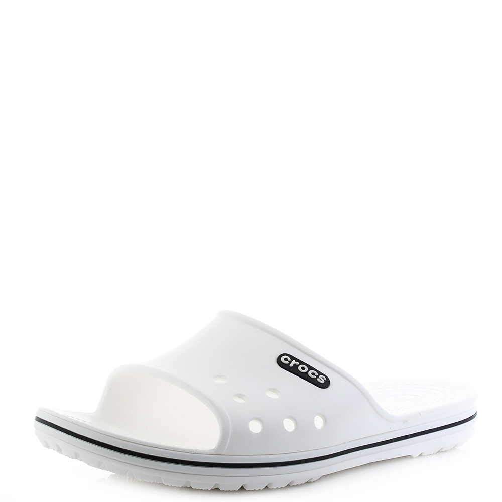 816e670cecc6d5 Mens Crocs Crocband II Slide White Black Sliders Flip Flops Sandals Shu Size