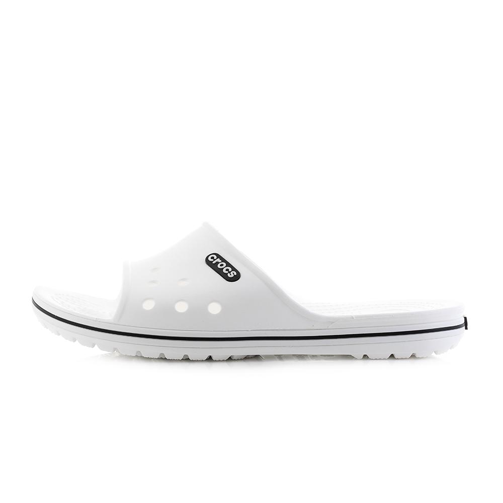 76dd57c7b29ee3 Mens Crocs Crocband II Slide White Black Sliders Flip Flops Sandals Size