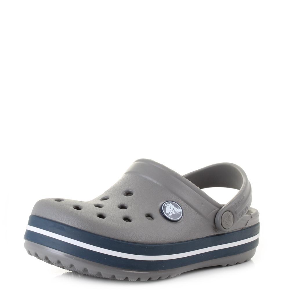 06aac8bdadbb Boys Kids Crocs Crocband Smoke Navy Classic Durable Clogs Shoes Sandals Size