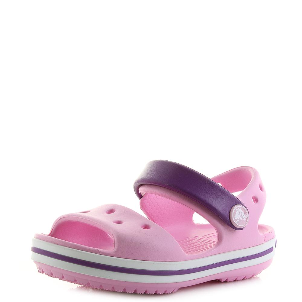 c45349a9f097d Details about Kids Crocs Crocband Sandals Carnation Pink Amethyst  Lightweight Sandals Shu Size