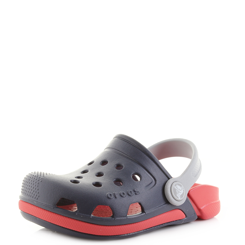 8eab54d8f Kids Crocs Electro III Clog K Navy Blue Flame Red Clogs Sandals Shu Size