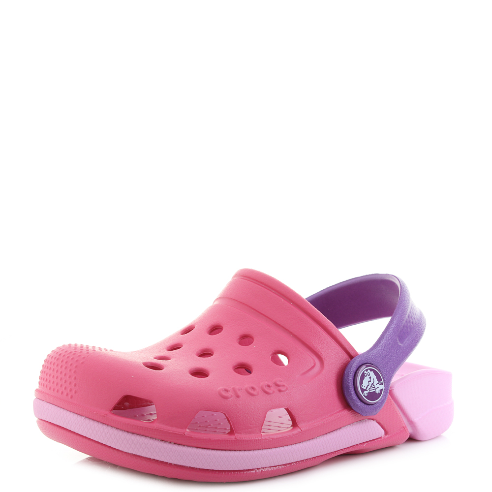 90b4eb0d999f11 Details about Kids Crocs Electro III Clog K Paradise Pink Carnation Clogs  Sandals Shu Size