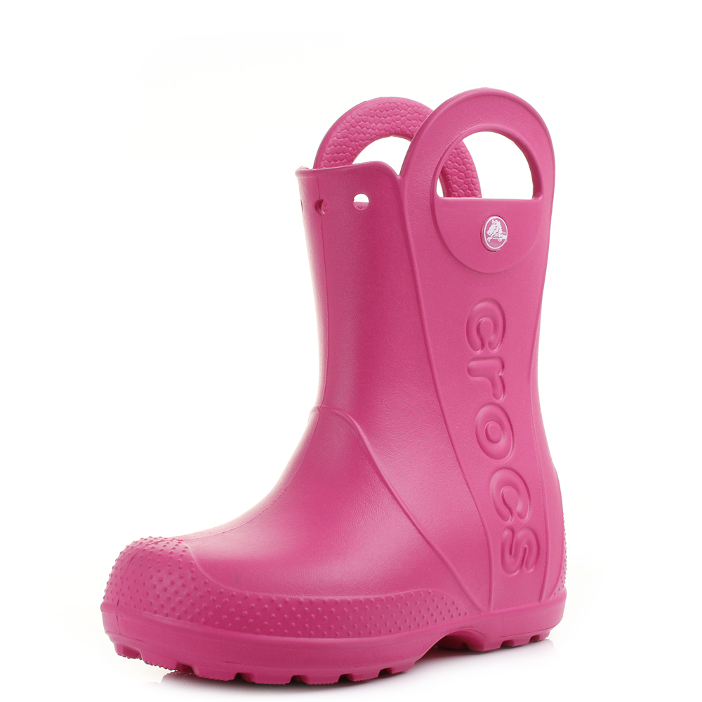 839abecfcd61 Kids Girls Crocs Handle It Candy Pink Wellies Wellington Boots Size ...
