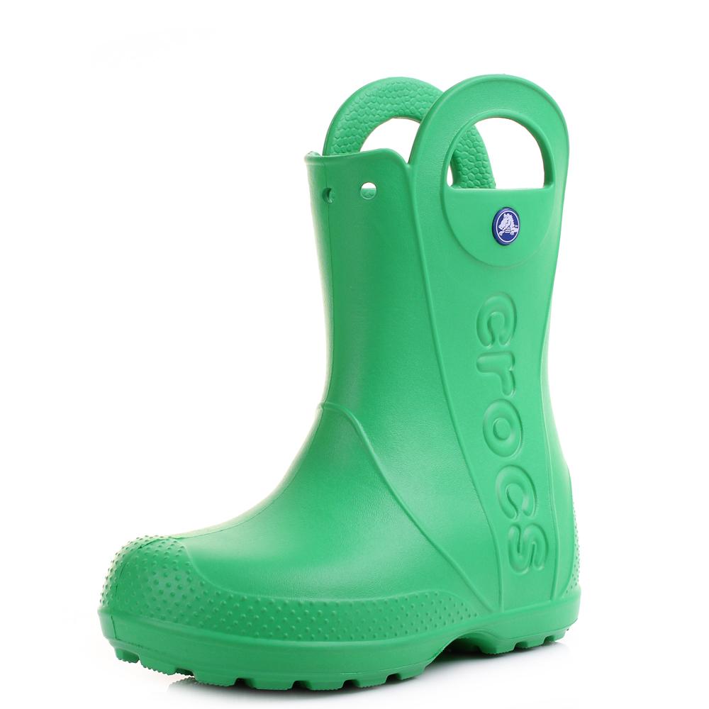 58aabb7cbad5 Kids Girls Boys Crocs Handle It Grass Green Wellies Wellington Boots Shu  Size