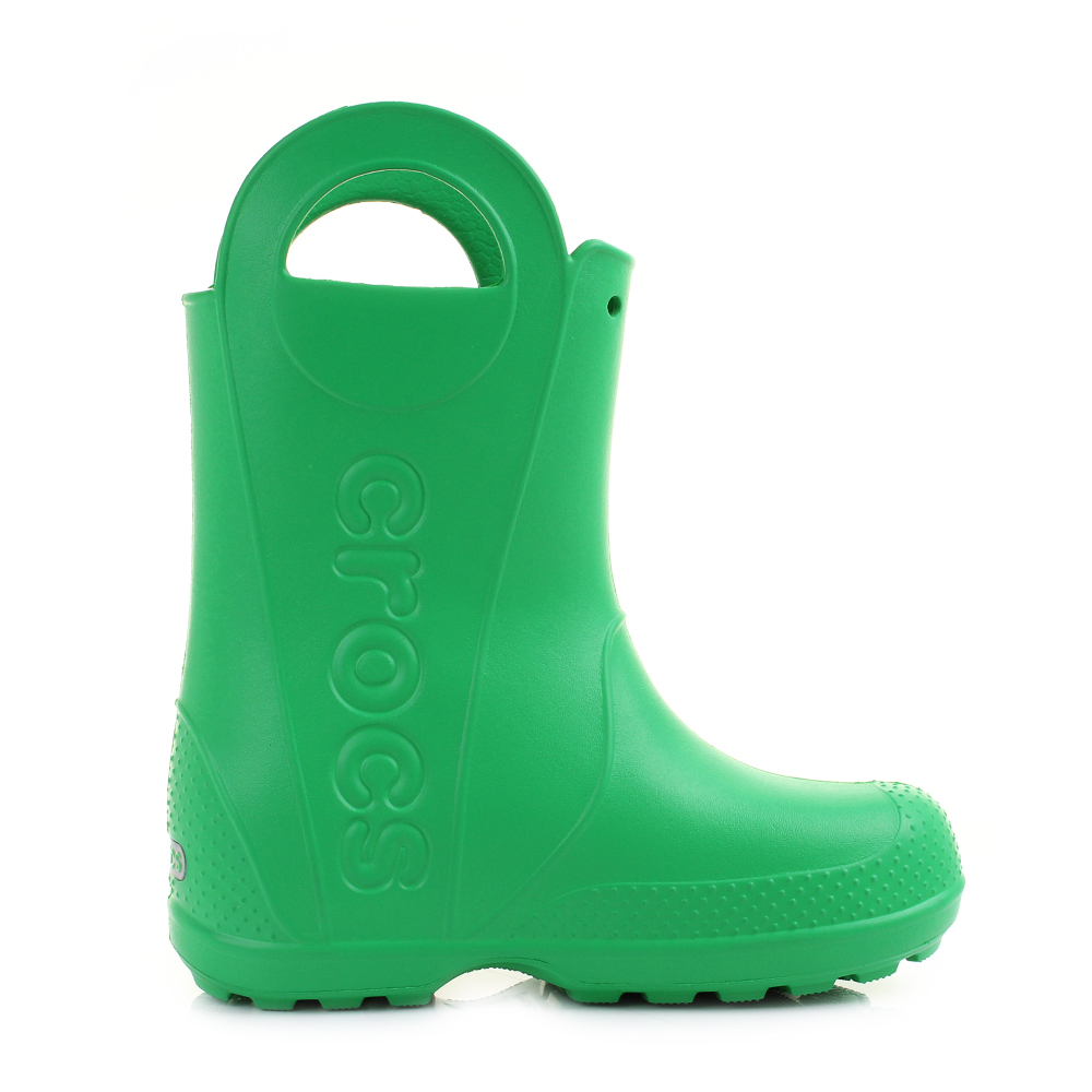 55b942581 Kids Girls Boys Crocs Handle It Grass Green Wellies Wellington Boots Shu  Size