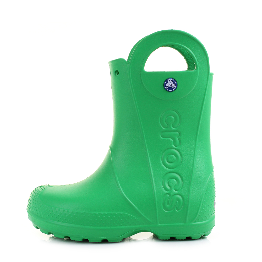 24a803255 Crocs Handle It Rain kids wellington boots in Grass Green are lightweight  and ideal for kids as they can pull on using the pull on at the top of the  ...