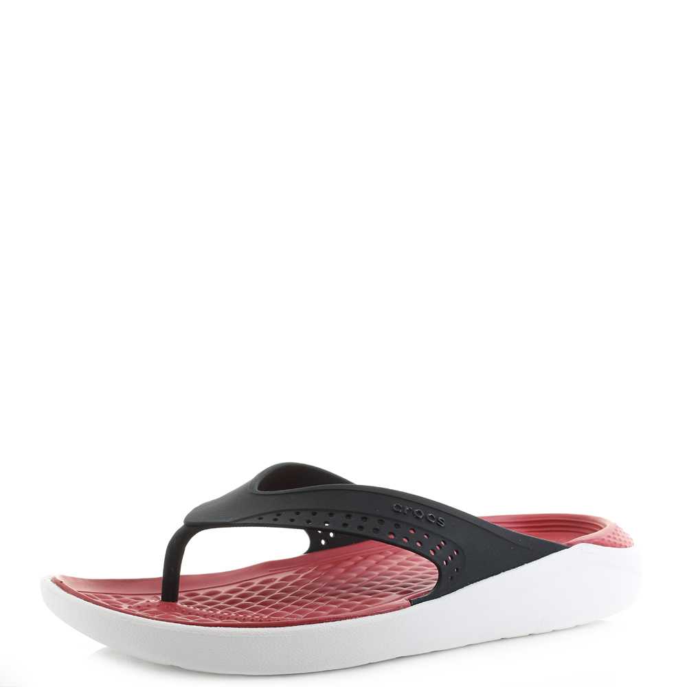 a16aadd740b53a Mens Crocs Lite Ride Flip Flop Black White Comfort Flip Flops Shu Size