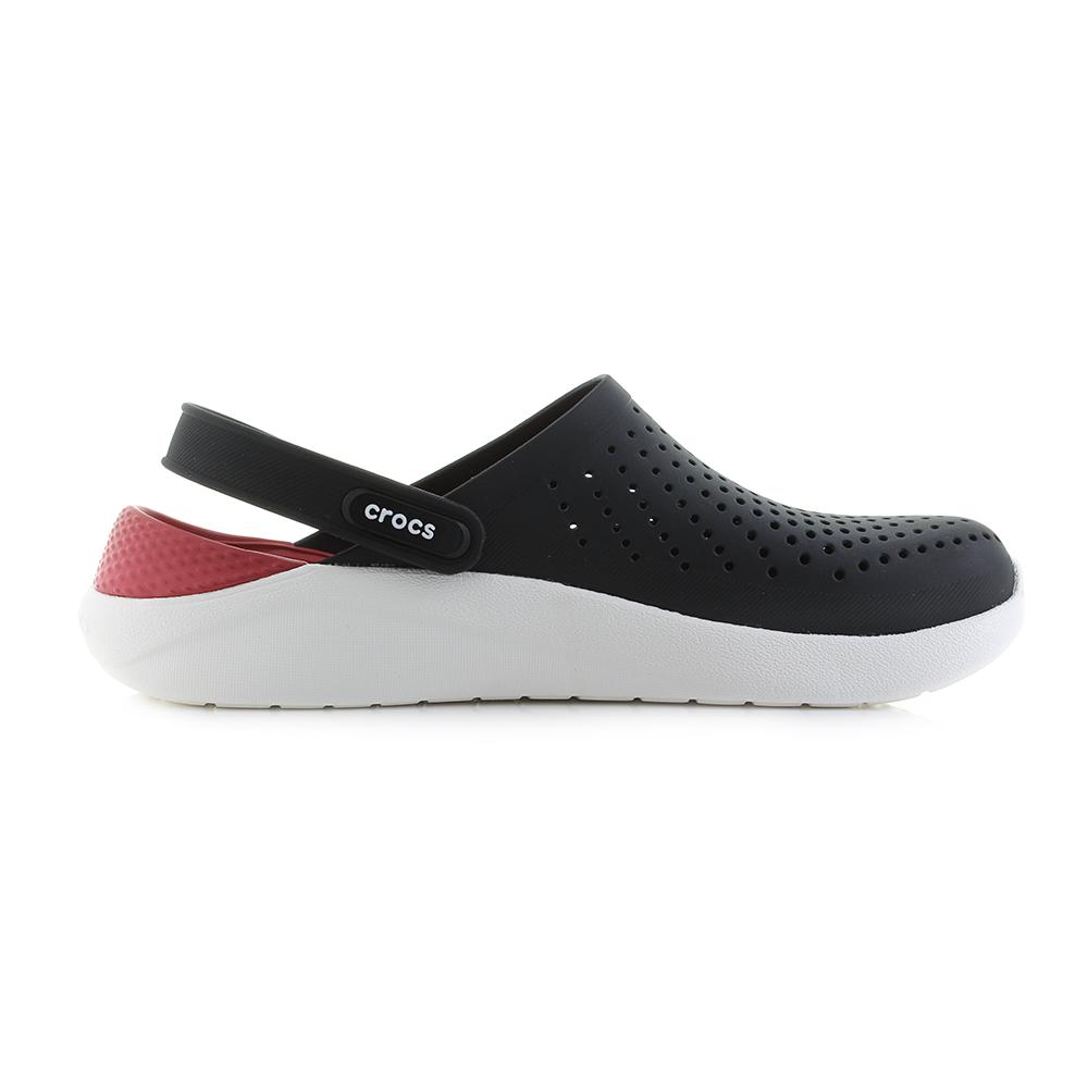 6cdda20c8ac9 Mens Crocs Literide Clog Black White Red Comfort Clogs Sports Sandals Size