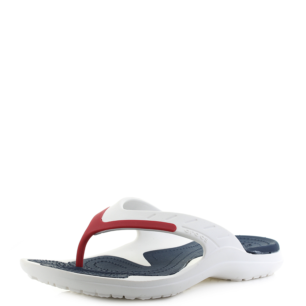92e081b2a98bc3 Mens Crocs Modi Sport Flip Flop White Navy Pepper Flip Flops Sz Size ...