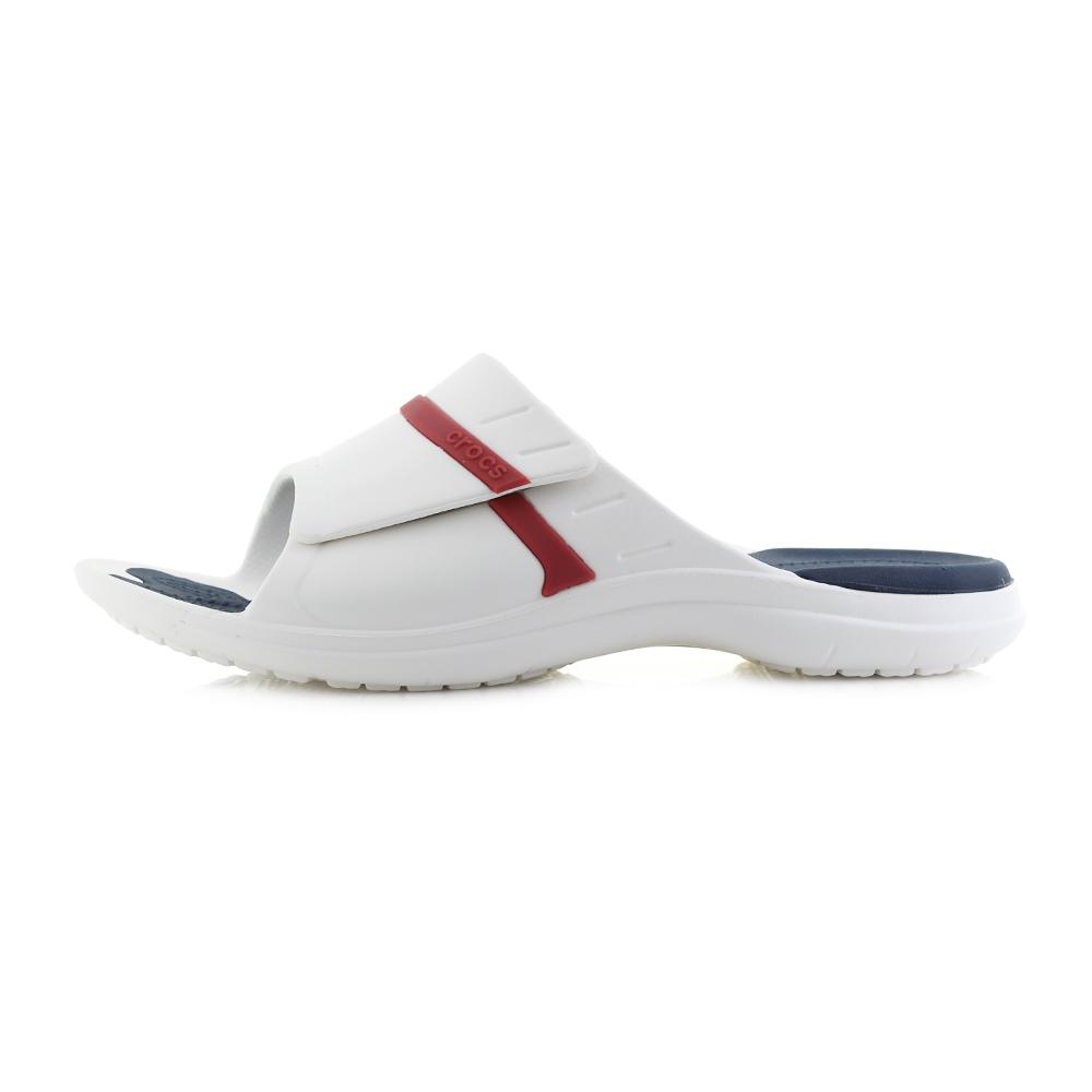 08ac94d4a577 Mens Crocs Modi Sport Slide White Navy Pepper Red Athletic Sliders Shu Size