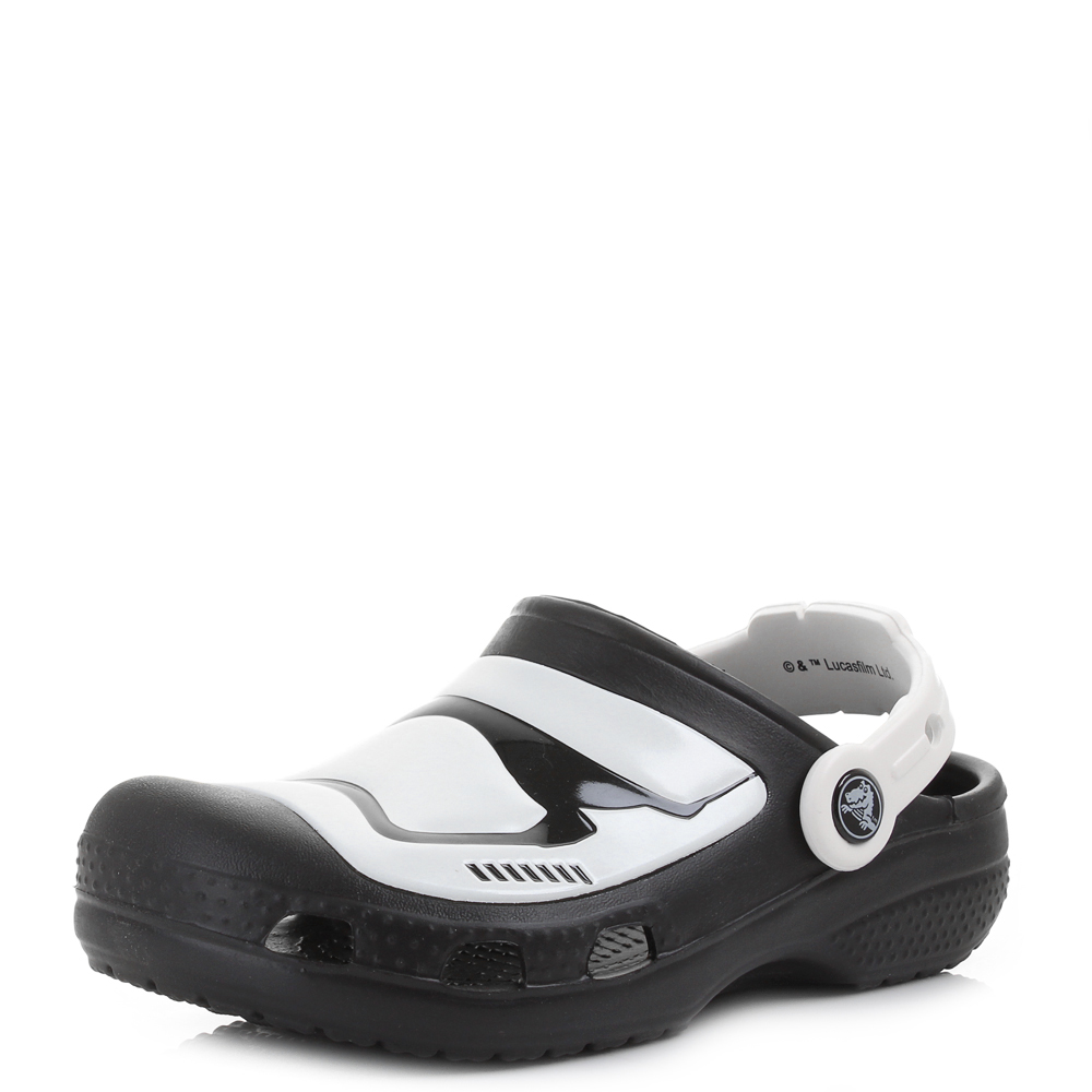9c1c9f58d8 Boys Crocs Stormtrooper Multi Black White Glow In The Dark Clogs Sandals  Shu Siz