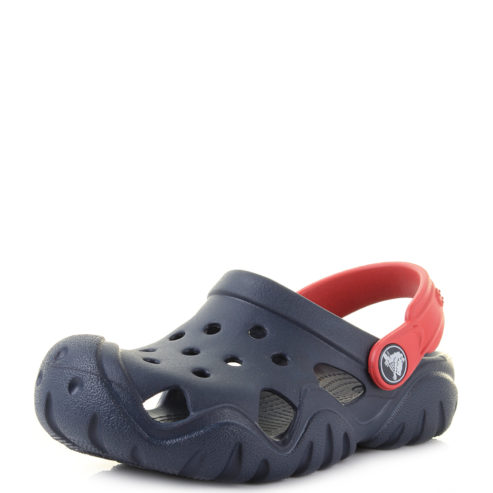 884299c11fa7 Kids Crocs Swiftwater Kids Navy Flame Red Clogs Sandals Size