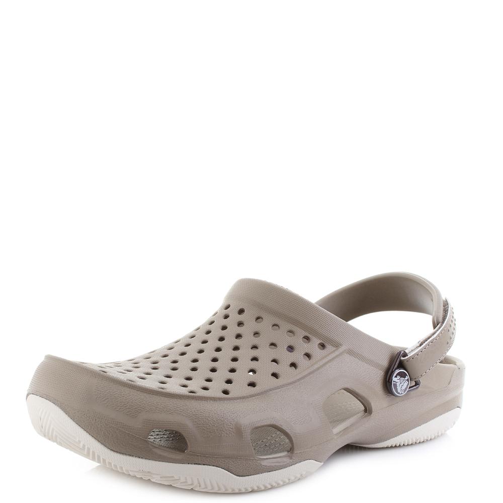 e1bba1e94 Mens Crocs Swiftwater Deck Clog Khaki Stucco Clogs Sandals Shu Size ...