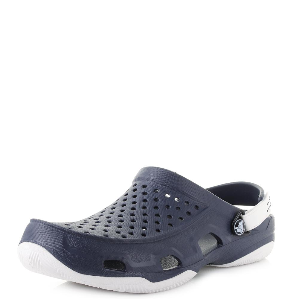48a9c8a7c9a0 Mens Crocs Swiftwater Deck Clog Navy White Sandals Sz Size