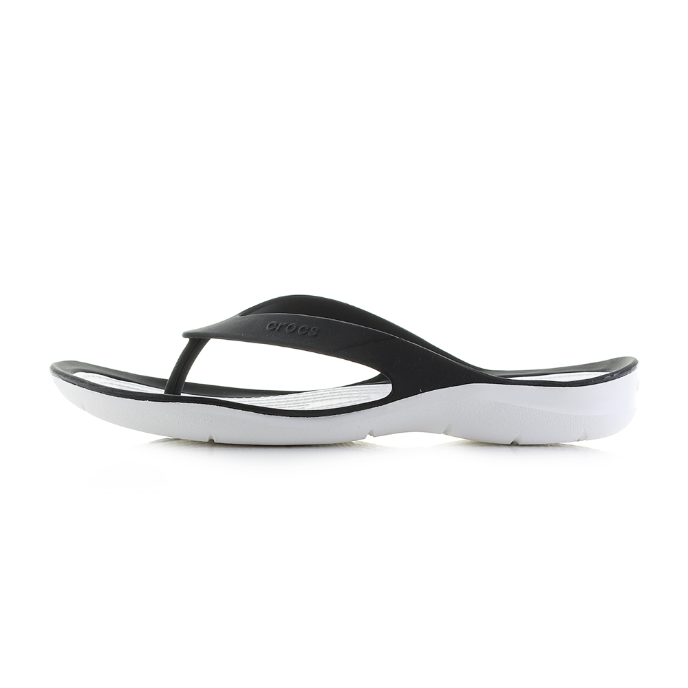 4fba1e409f8d65 Womens Crocs Swiftwater Flip Black White Flip Flops Shu Size