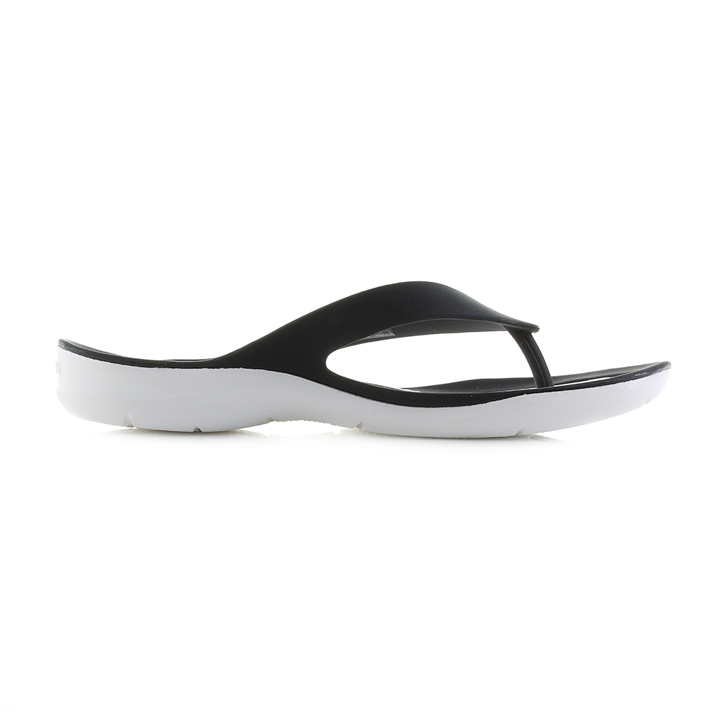 028802245be83c Womens Crocs Swiftwater Flip Black White Flip Flops UK Size