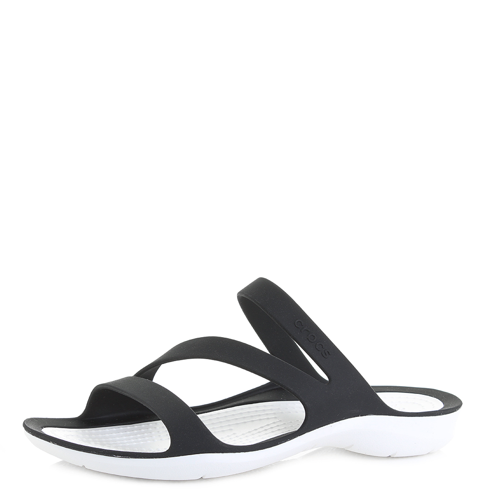 c4b8ef629 Details about Womens Crocs Swiftwater Sandals Black White Comfot Sandals UK  Size