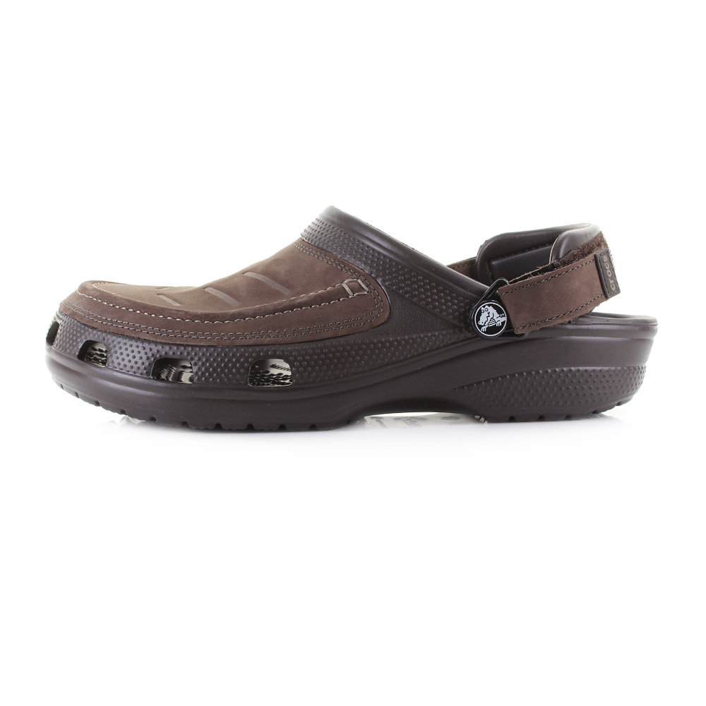 1a287674ab06 Mens Crocs Yukon Vista Espresso Leather Clogs Sandals Size