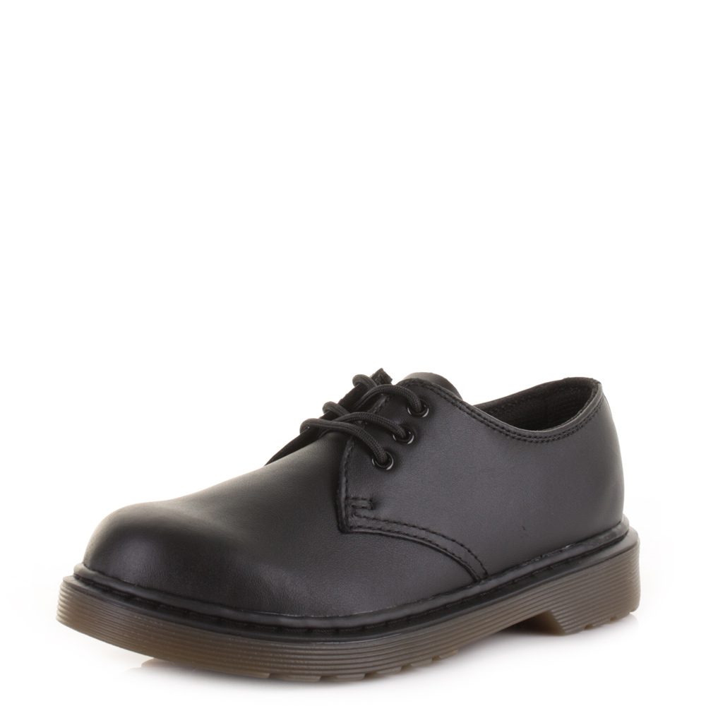 Kids Boys Girls Dr Martens Everley Black Softy Leather School Dm Shoes  Size