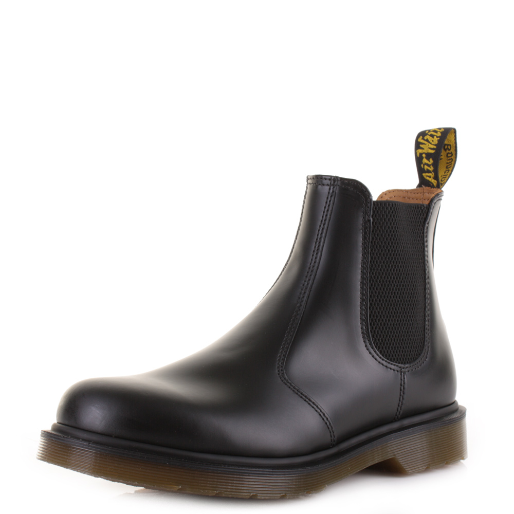 Mens Dr Martens 2976 Black Smooth Leather Chelsea Ankle Boots Uk Size