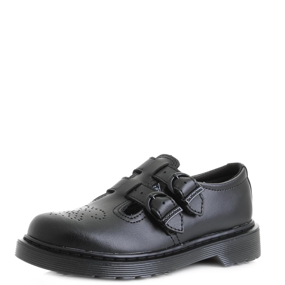 d2fbb7a835603 Details about Girls Junior Kids Dr Martens 8065 Black Leather Mary Jane School  Shoes Sz Size