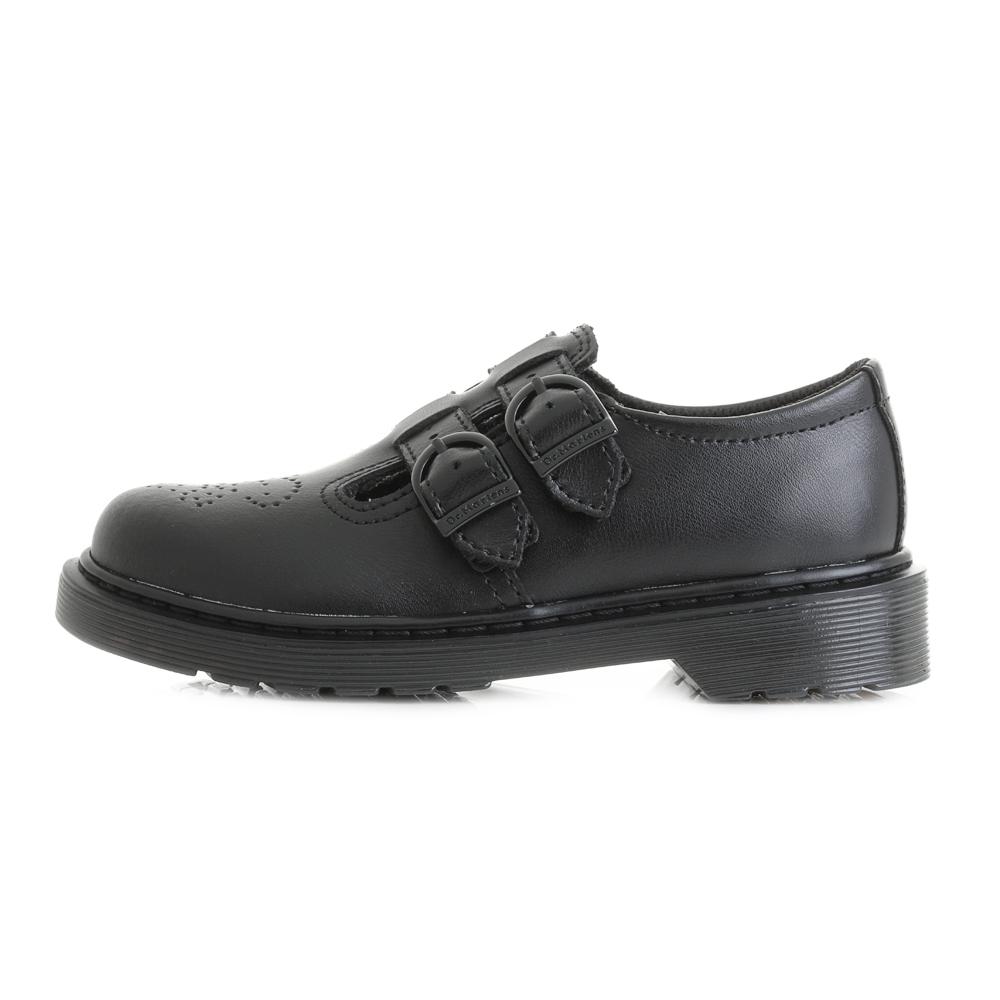 542d1d11e52dd Girls Junior Kids Dr Martens 8065 Black Leather Mary Jane School Shoes Size
