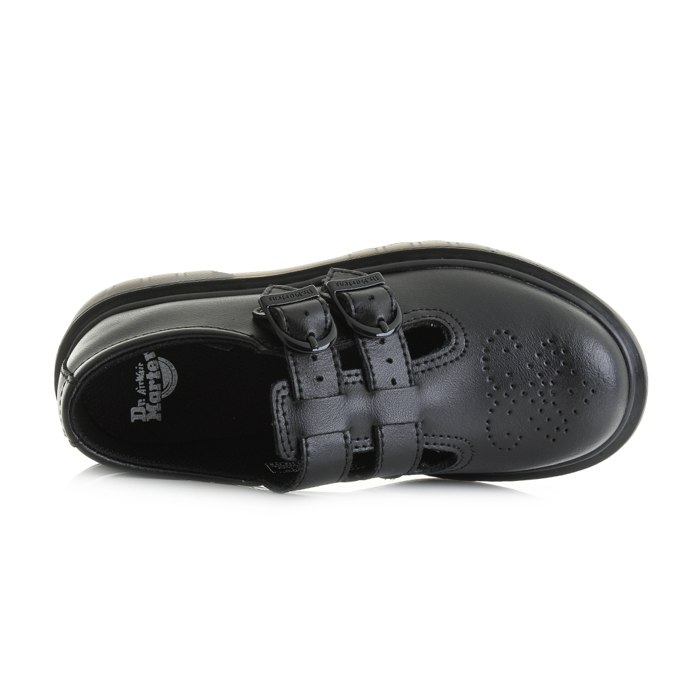 BOYS BLACK LEATHER COATED TOUCH CLOSE BAR STRAP SCHOOL SHOE IN SIZE 12