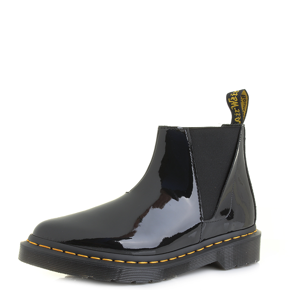 Womens Dr Martens Bianca Black Patent Lamper Pull On Chelsea Boots UK Size