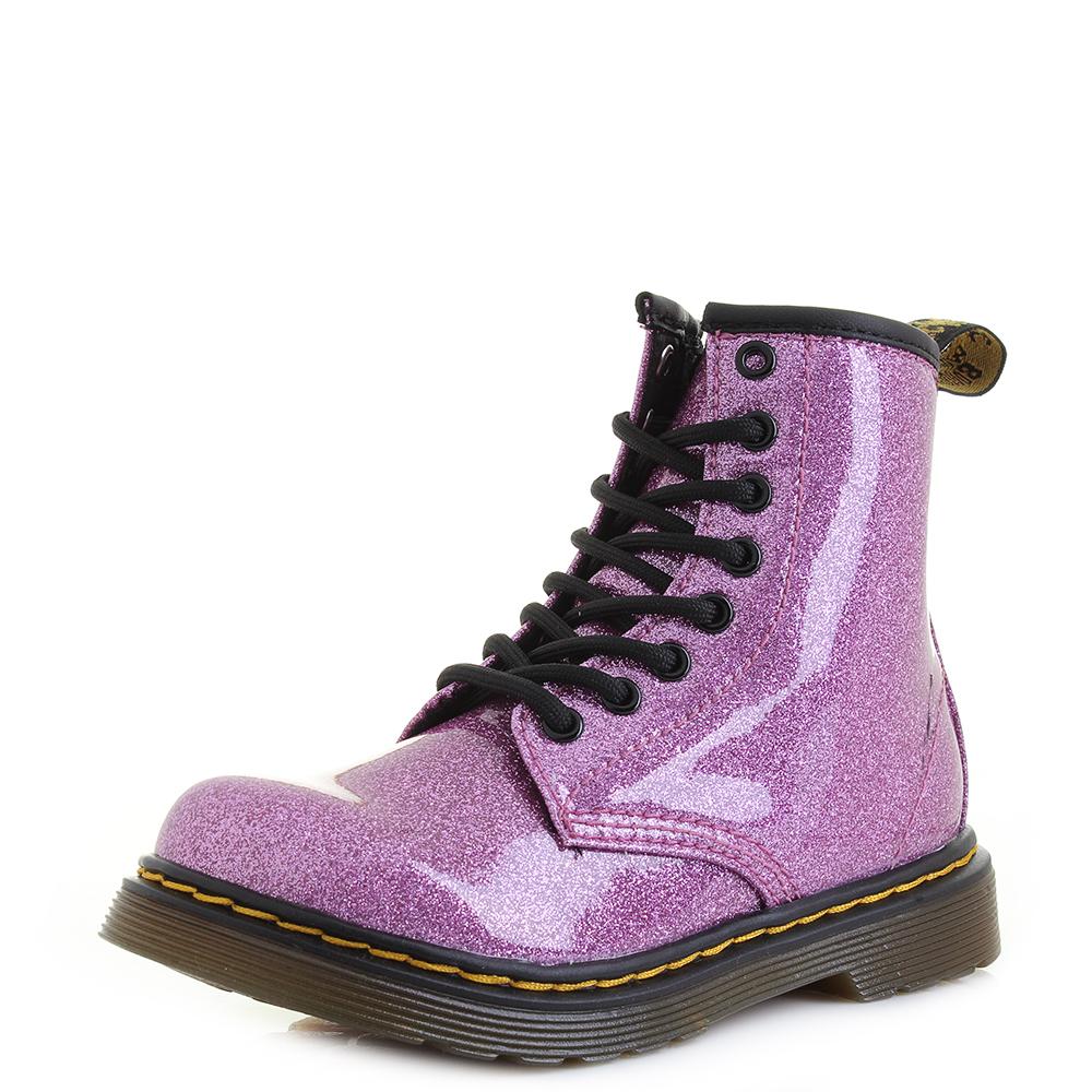 9d61f0f1ffb3 Details about Junior Dr Martens 1460 Glitter J Dark Pink Multi Glitter  Ankle Boots Shu Size