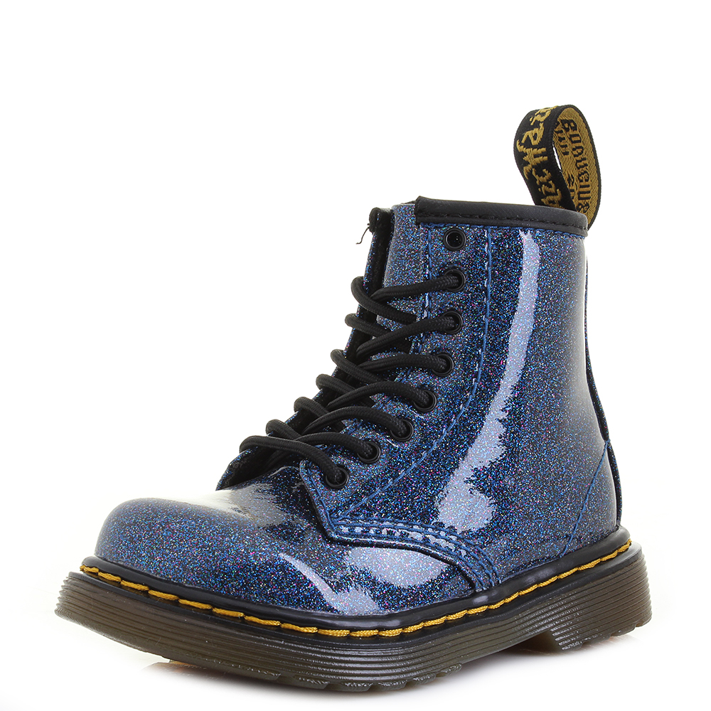 265a07d4a7 Details about Toddler Dr Martens 1460 Glitter T Blue Glitter Fashion Ankle  Boots UK Size