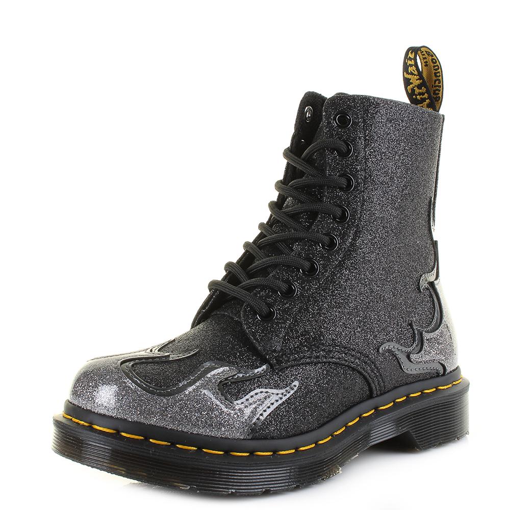 58512fad7b9e8 Womens Dr Martens 1460 Pascal Flame Pewter Gunmetal Dark Grey Ankle Boot  Shu Siz