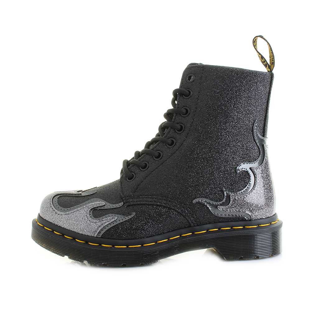 1fc7304c33c9f Womens Dr Martens 1460 Pascal Flame Pewter Gunmetal Dark Grey Ankle ...